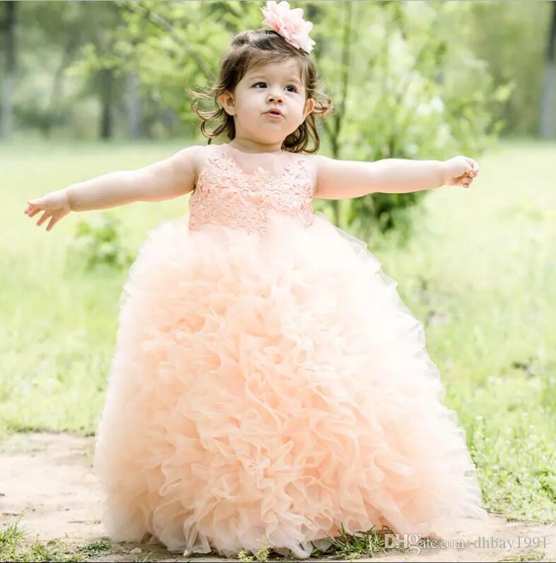 Vestidos Primera Comunion 2017 Livraison gratuite enfant en bas âge Glitz Pageant Robes belle robe de fille de fleur robe de bal