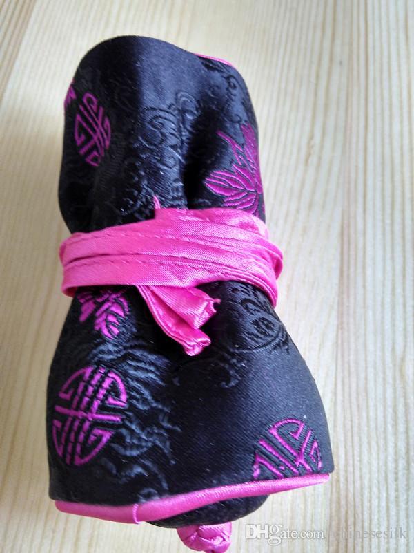 Belas Floral Pequeno Saco De Presente De Tecido Saco De Presente De Jóias De Seda Rolo De Viagem 3 Zipper Bolsa Com Cordão Multi Anel Saco Mulheres