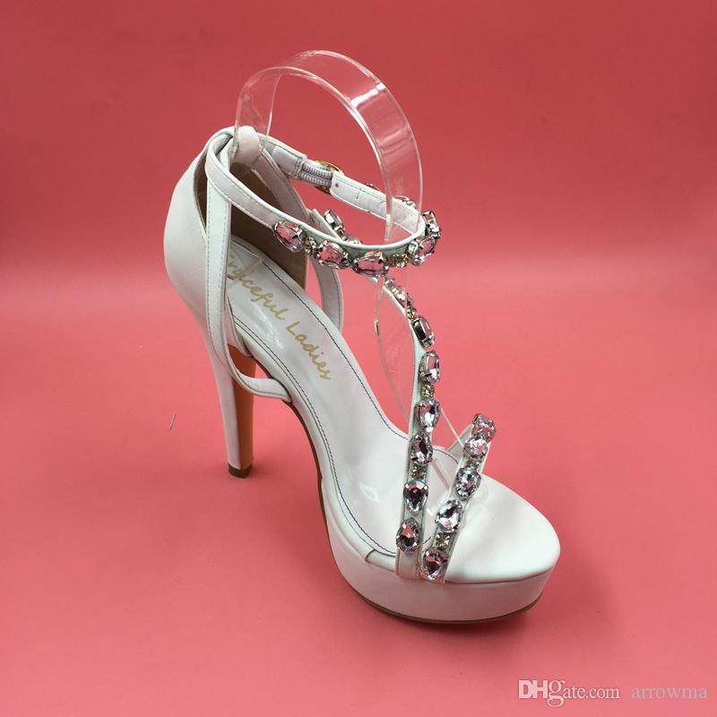 진짜 화이트 웨딩 신부 신발 크리스탈 구슬 하이힐 패션 숙 녀 파티 신발 여름 스타일 여자 샌들 사용자 지정 만든 플러스 US15
