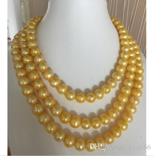 Elegancki AAA9-8mm South Sea Round Gold Pearl Necklace 50 cali 14K