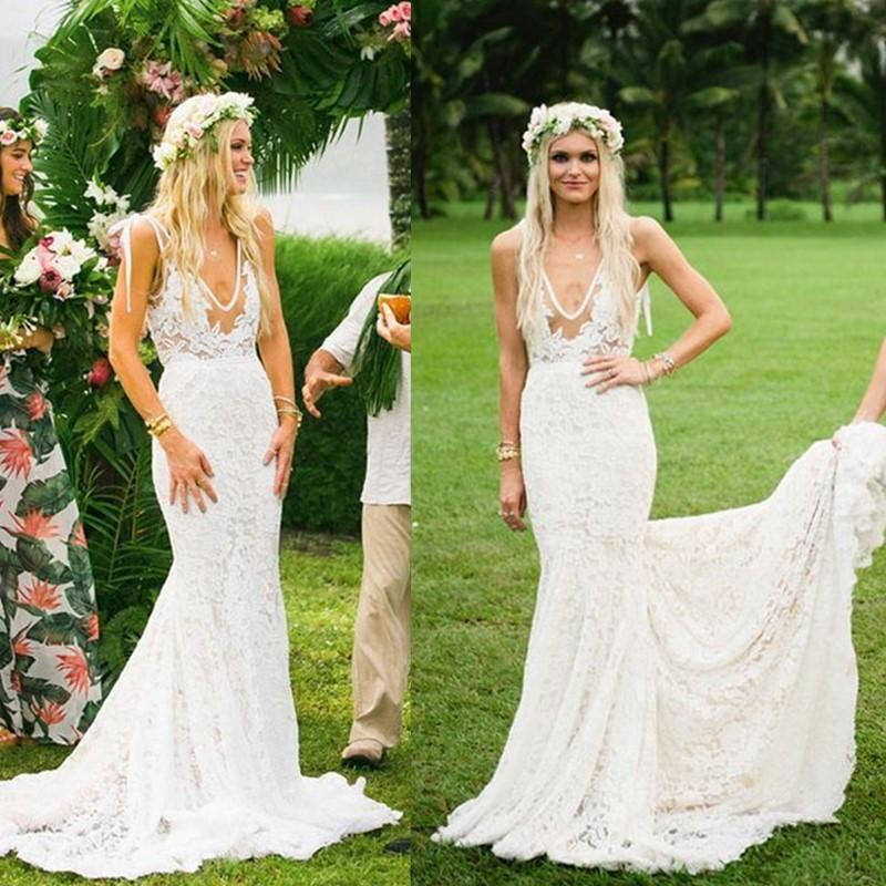 Boho Wedding Dresses V Neck Lace Mermaid Simple Country Illusion ...