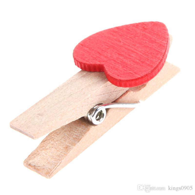 Min Love The Small Red Wooden Clip Log Photos Clip for Wedding Party Decoration