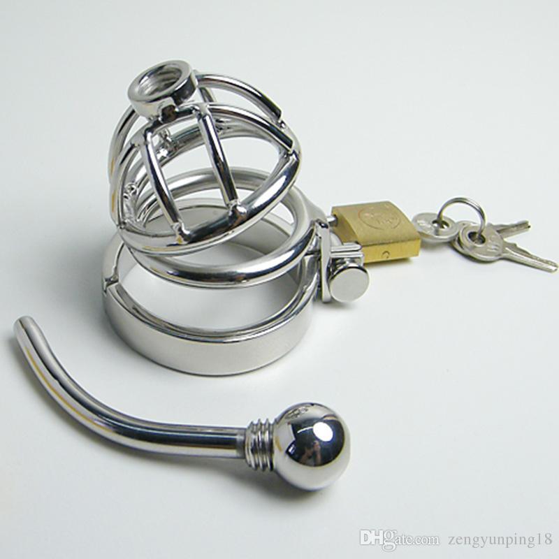 Gaiola de aço inoxidável do galo do metal da correia de castidade do dispositivo de castidade masculino com o uretral removível que soa brinquedos do sexo do anel do pénis