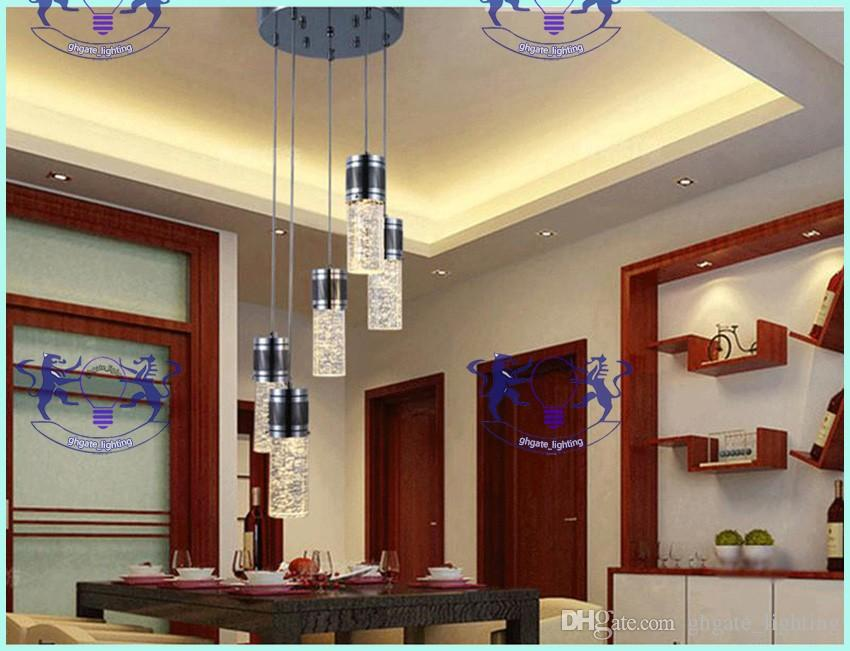 Modern light Crystal Pendant Lamp Bubble Crystal Light with LED Bulb Cylinder Shade Droplight Chandelier Ceiling Light Bar Dining Room Lamp
