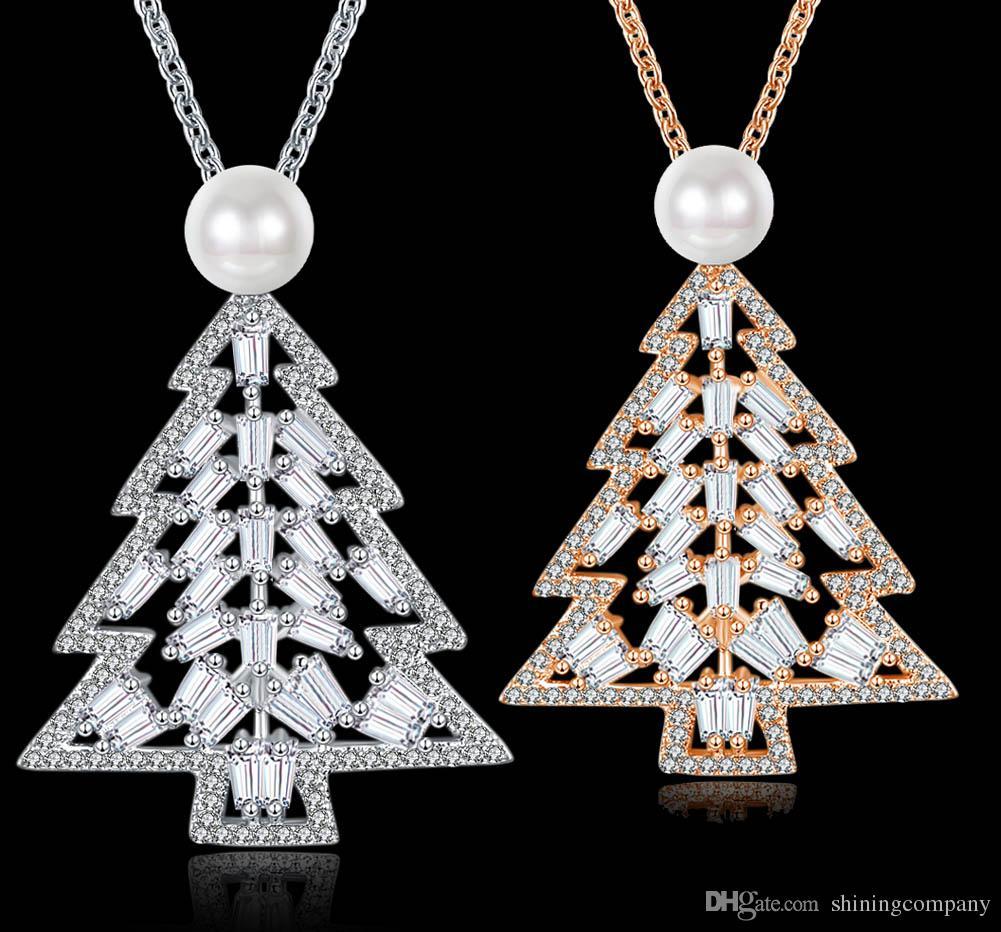 Wholesale 2017 Christmas Pendant Necklace Creative Christmas Tree