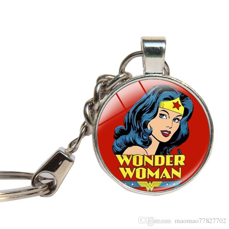 Woder Woman Anime Movie Keychain Glass Cabochon Superhero Iron Man Key Chains Glass Dome Key Ring For Car Handmade Jewelry