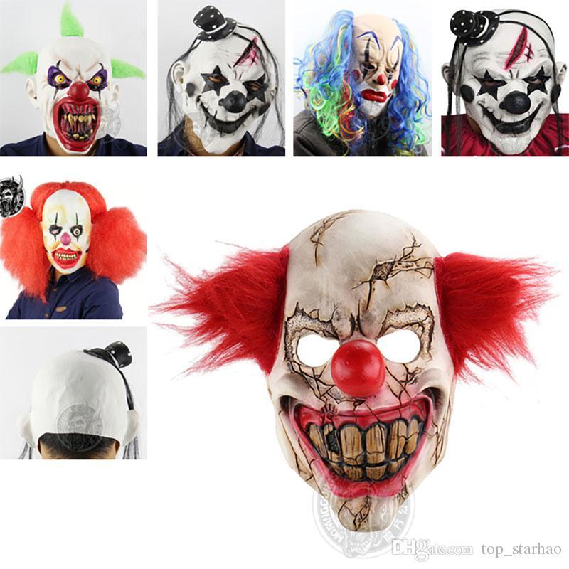 2017 Scary Clown Mask Green Hair Buck Teeth Full Face