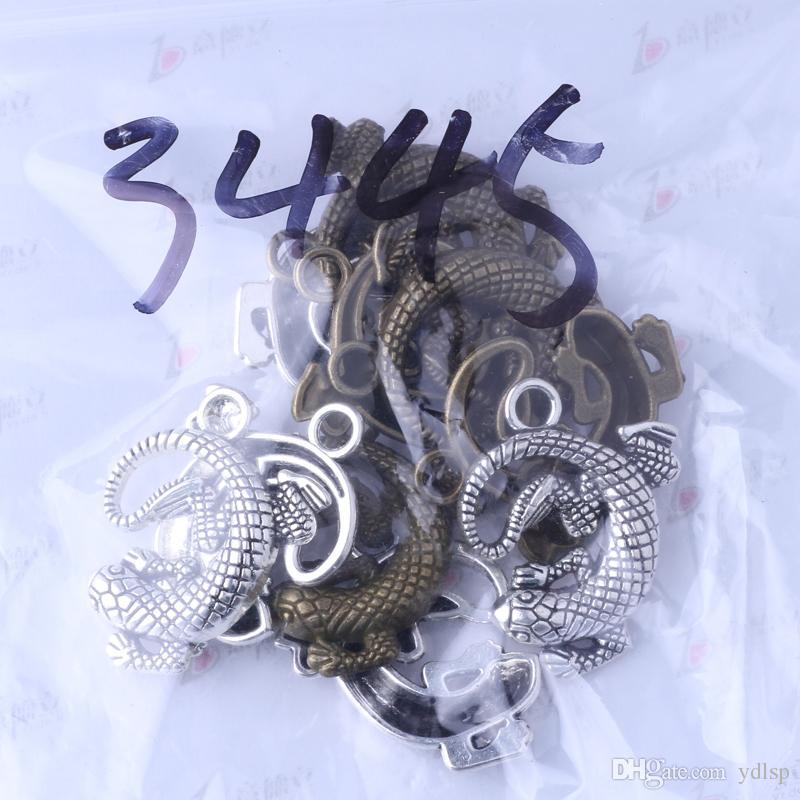 Charms Gecko antique argent / bronze 30 * 25.3 * 4.2mm bricolage Vintage pendentif bricolage fabrication de bijoux / 3445