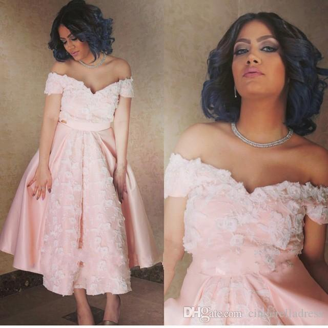 Light Pink Off Shoulder Tea Length Prom Dresses Short Sleeves with White Lace Appliqued Plus Size Arabic Short Cocktail Party Gowns