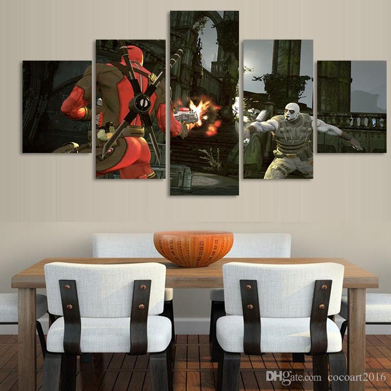 Moderne Imprimé Décor À La Maison Pour Salon Toile Wall Art Deadpool Comic Peinture Cuadros Decoracion