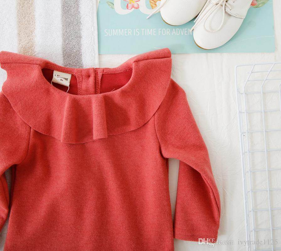 30a93fe201318 ... INS NEW fille Kids chemise à manches longues col de volants chemise  jaune pur enfants causal ...