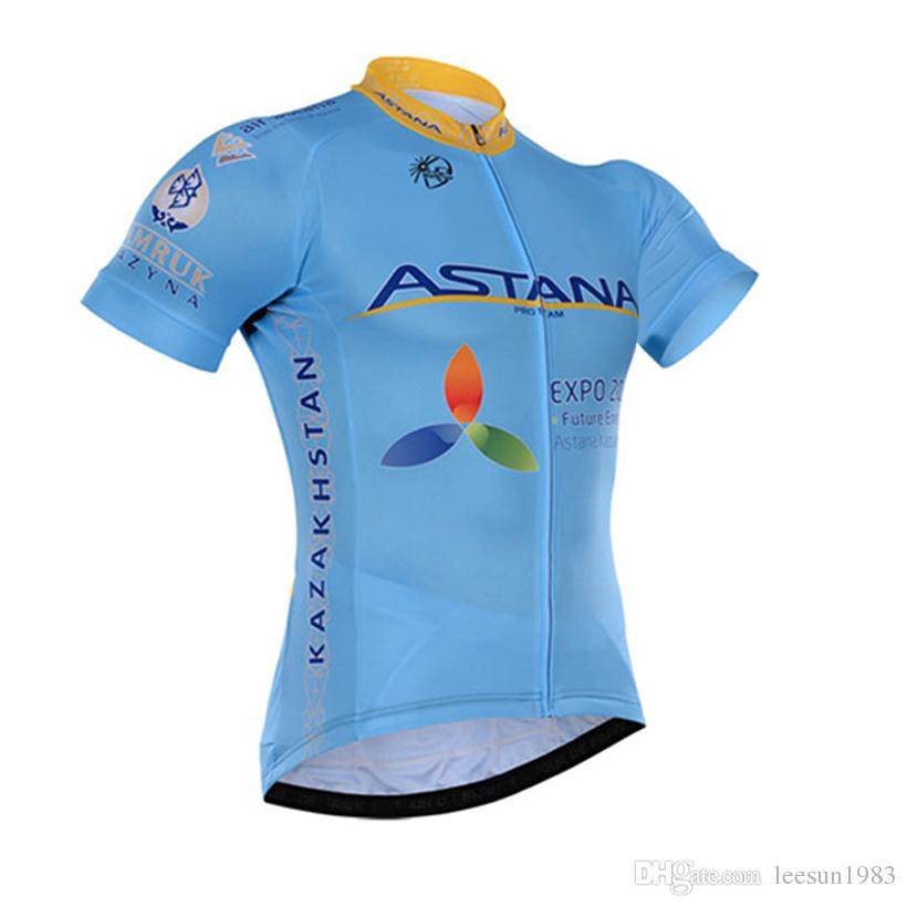 2016 ASTANA PRO TEAM BLUE SHORT SLEEVE CYCLING JERSEY SUMMER CYCLING WEAR ROPA CICLISMO+ BIB SHORTS 3D GEL PAD SET SIZE:XS-4XL