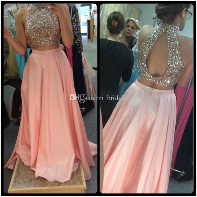 9f1563b3bdd0 Prom Dress 2017 Unique Design High Neck Beaded Crystals Peach Pink Satin Evening  Formal Party Gowns Long Homecoming Dresses Fitted Prom Dresses Formal Short  ...