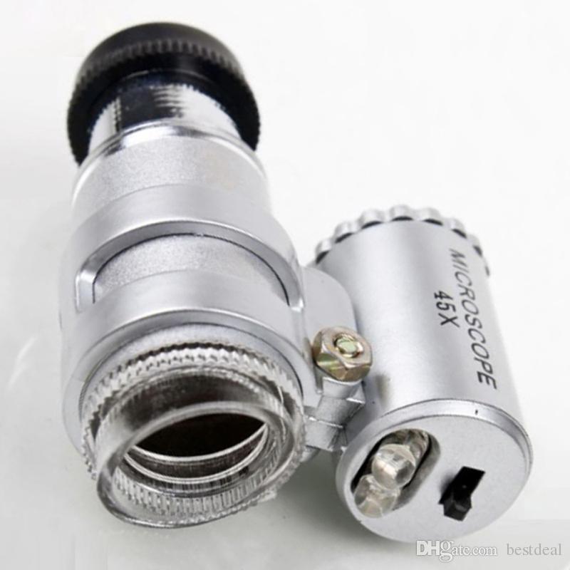 Microscopio 45X Joyero Lupa Joyas Lupas Mini lupas Microscopios de bolsillo con luz LED + Funda de cuero Lupa MG10081-4