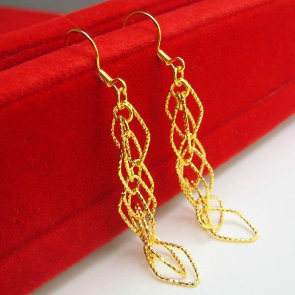 Gold earrings woman 24K mixed gold 999 thousand character line Earrings Ear Fashion Gift NEW