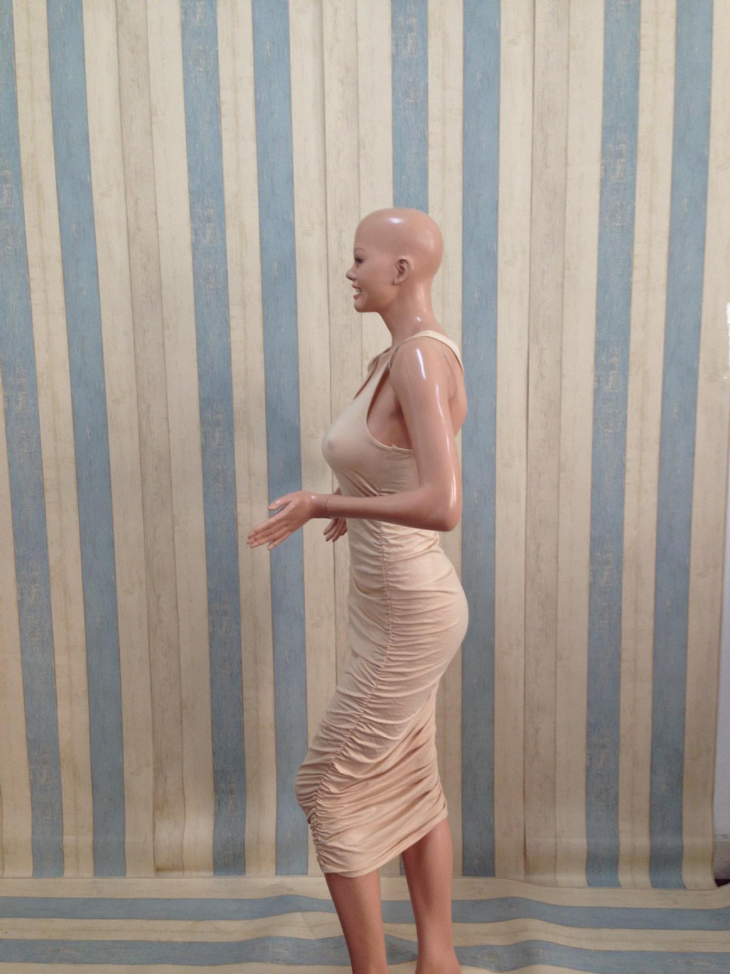 블랙 화이트 그레이 그린 베이지 여름 스타일 여성 코튼 드레스 긴 Pleated 가기 섹시한 붕대 캐주얼 조끼 드레스 맥시 크기 S M L