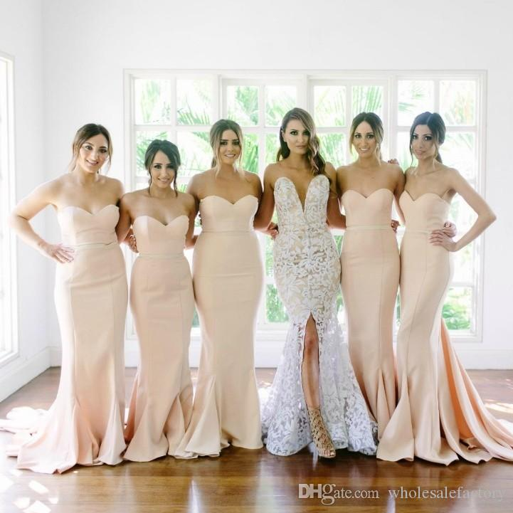 a3773f366eed1 Blush Pink Mermaid Satin Bridesmaid Dresses 2017 Sweetheart Sexy Backless Long  Wedding Party Dresses Robe Demoiselle D honneur Evening Gowns