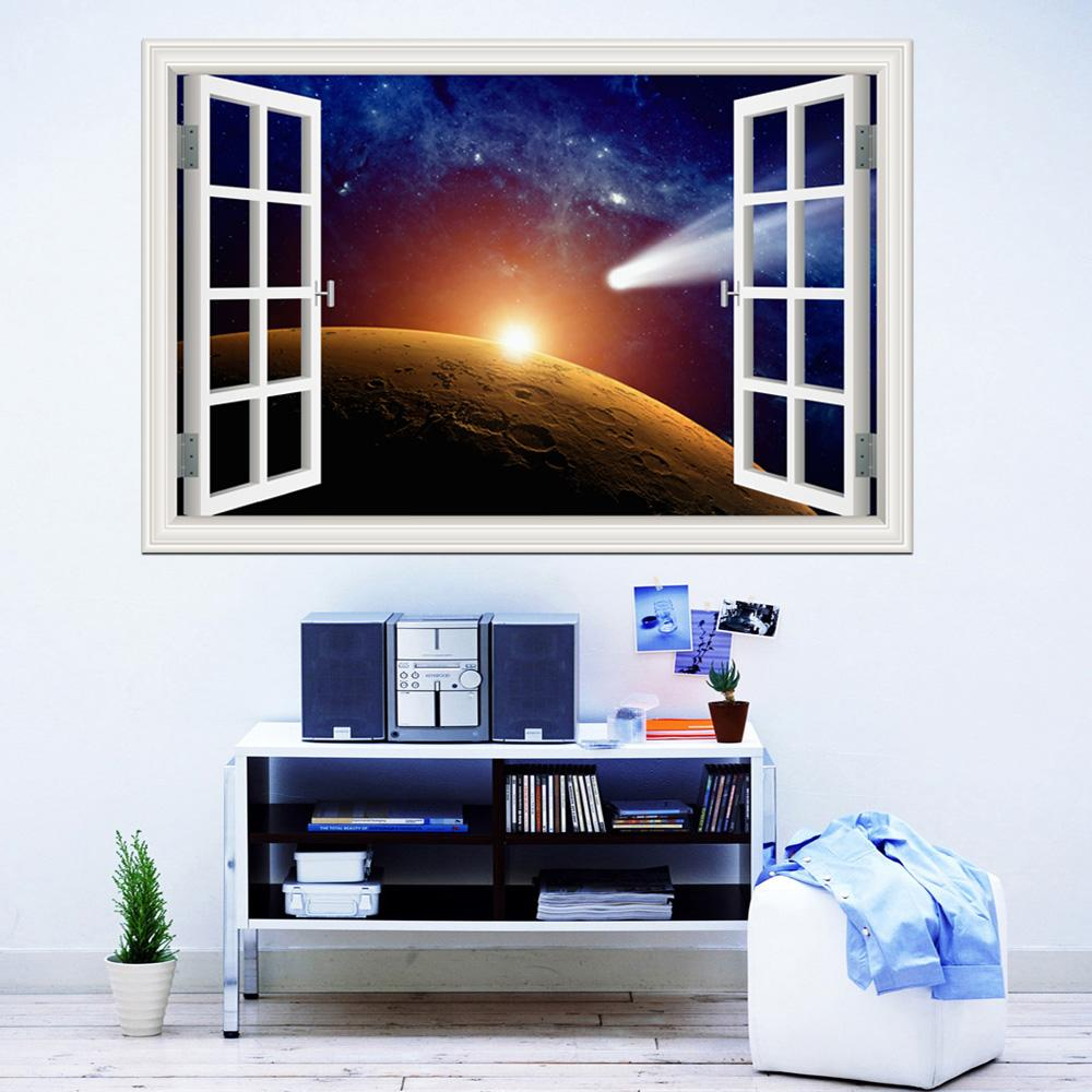 3d Window View Planet Galaxy Wall Sticker Removable Outer Space Wall