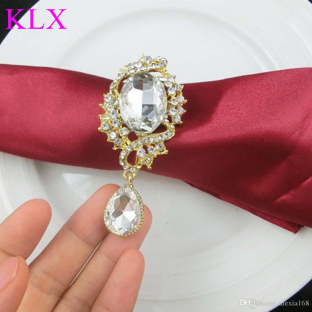 Wholesale!Hot sell Gold Plating Droplet Rhinestone Napkin Ring For Wedding Table Decoration ,Pre -Order