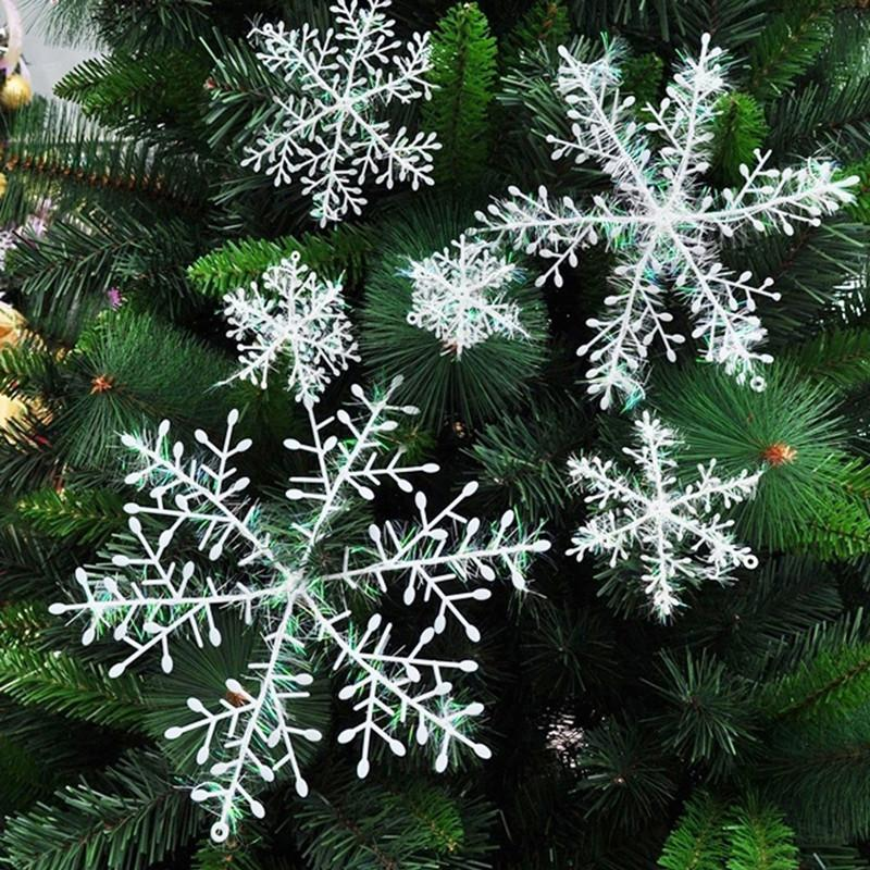 Xmas Tree Snowflake Ornaments White Sparkling Snowflakes String Sticker Window Clings Decal Christmas Hanging Room Decorations