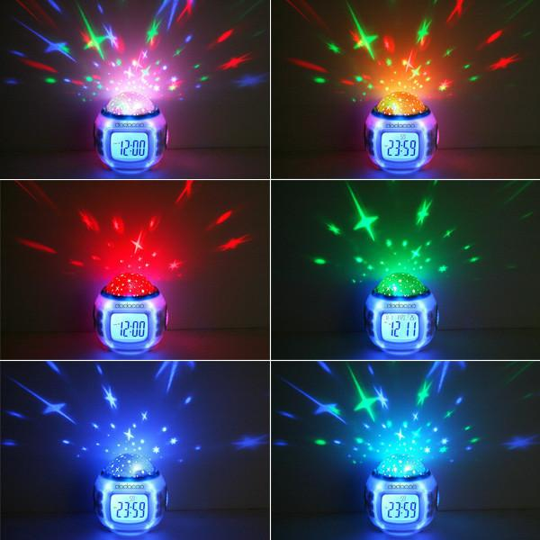 Colorful Music Starry Star Sky Projection projector with Alarm Clock Calendar Thermometer Christmas Night light H535