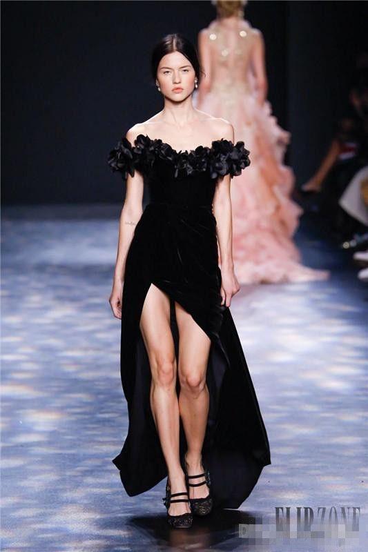 Marchesa 2018 3D Floral Split Evening Dresses Off Shoulder Dubai Arabic Full length Velvet black celebrity occasion prom gowns