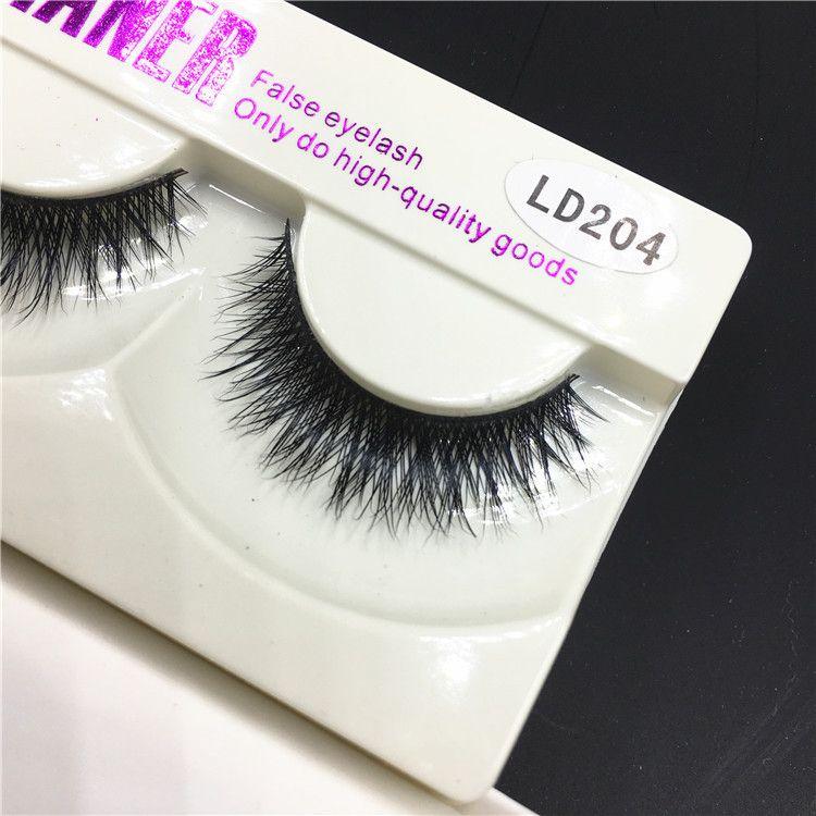 False Eyelashes Handmade Natural Long Thick Mink Fur Eyelashes Mink Fake Eye Lash Extensions Black Strip Lashes High Quality Goods LD204