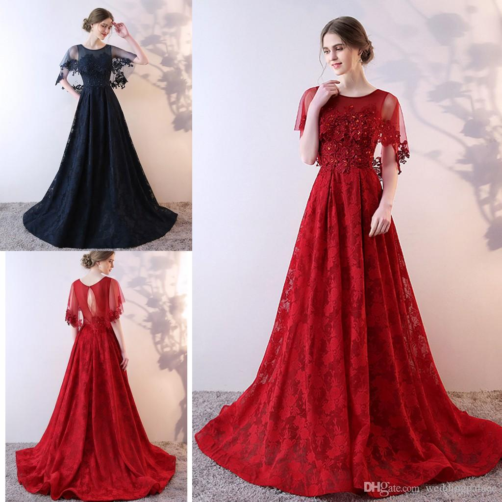 Newest Luxurious Lace Long Evening Dresses With Shawl Appliques ...