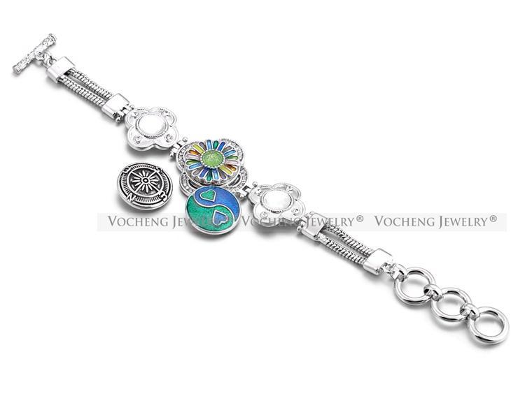 VOCHENG NOOSA Flor Pulseira de Gengibre Snap Jóias Incrustadas Bling Cristal 18mm Alloy Botão Jóias NN-487