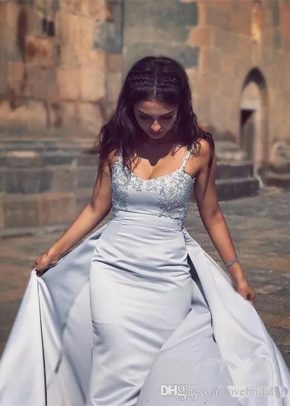 2018 sirene spaghetti bretelles robes de soiree jupe arabe formelle avec dentelle appliques vestidos festa Custom Made satin robe de soirée