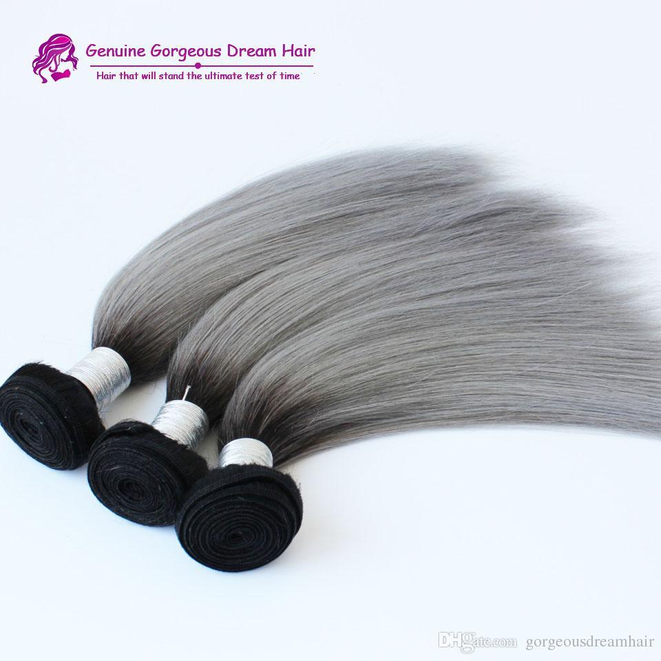 Nuovo arrivo brasiliano 3 pz / lotto ombre argento grigio capelli tessitura 1b / grigio due tonalità estensioni dei capelli umani brasiliani dei capelli