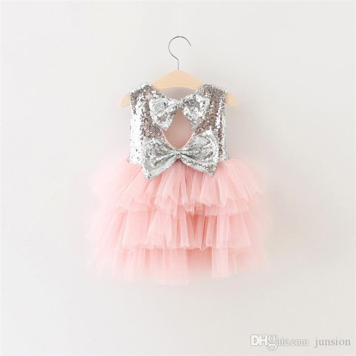 Girls Wedding Dresses Sequined New Lovely Princess Children Dress Sweet Baby Short Sleeveless Lace Rose Flower Kids Clothes For 2016 summer