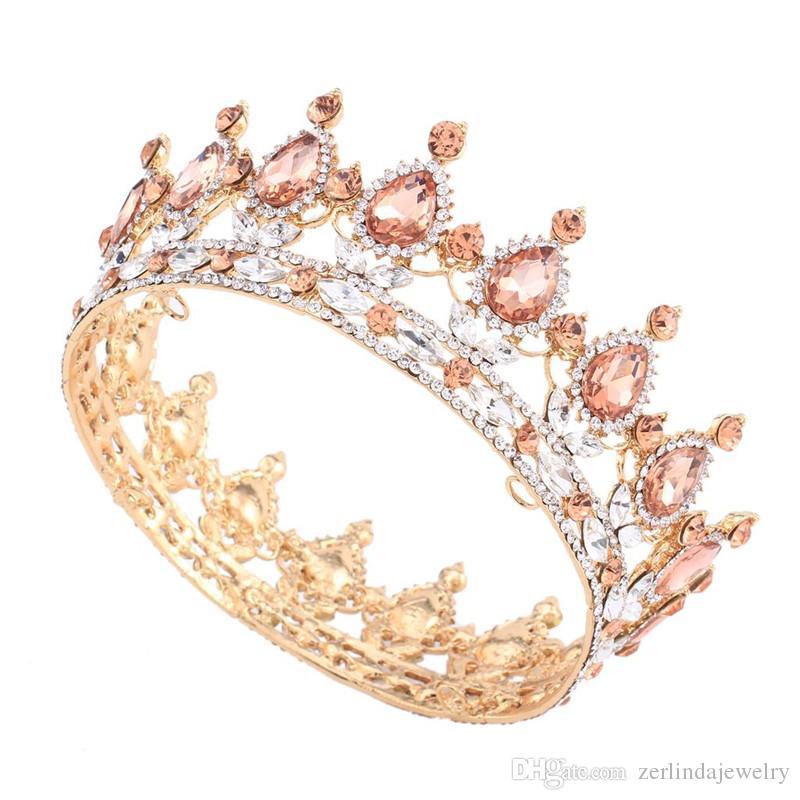 2 pulgadas de altura Diseños europeos Vintage chapado en oro Blush Crystal Rhinestone tiara boda nupcial corona tiaras