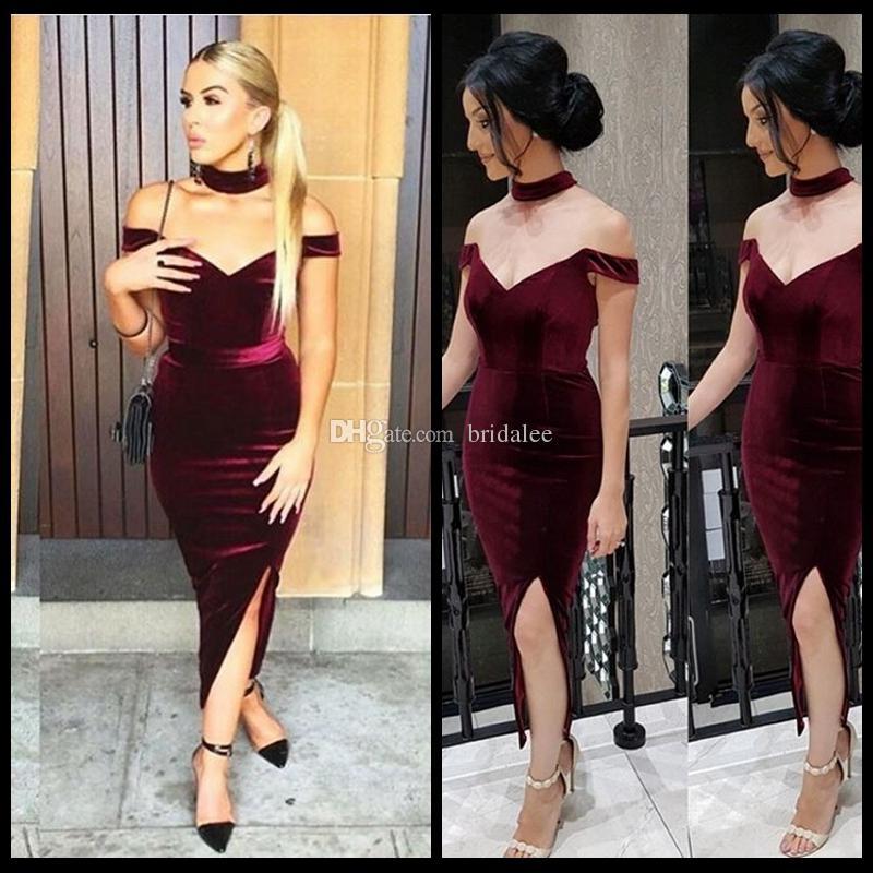 2017 Borgogna Off Spalla Abiti da cocktail Sexy Side Split Collana Tea Length Prom Dress Cheap trasporto veloce arabo Women Gown