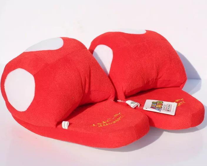 """Hot sale Super Mario Bros Red Mushroom Plush Slippers Adult Indoor Warm Slipper 11""""28cm Retail"""