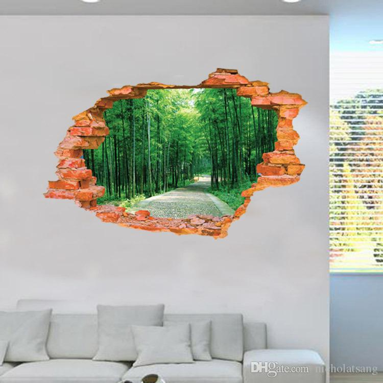 2016 Large Wall Sticker Tree Forest Landscape 3D Brick Decals Living Room Bedroom Decoration Vinyl Wall Art Home Decor