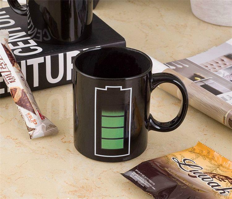 Pil Rengi Değişen Kupalar Sihirli Bardak Seramik Sıcaklık İndüksiyon Kupalar Renk Değiştiren Kahve Fincanları Yaratıcı Seramik Kupalar IA857