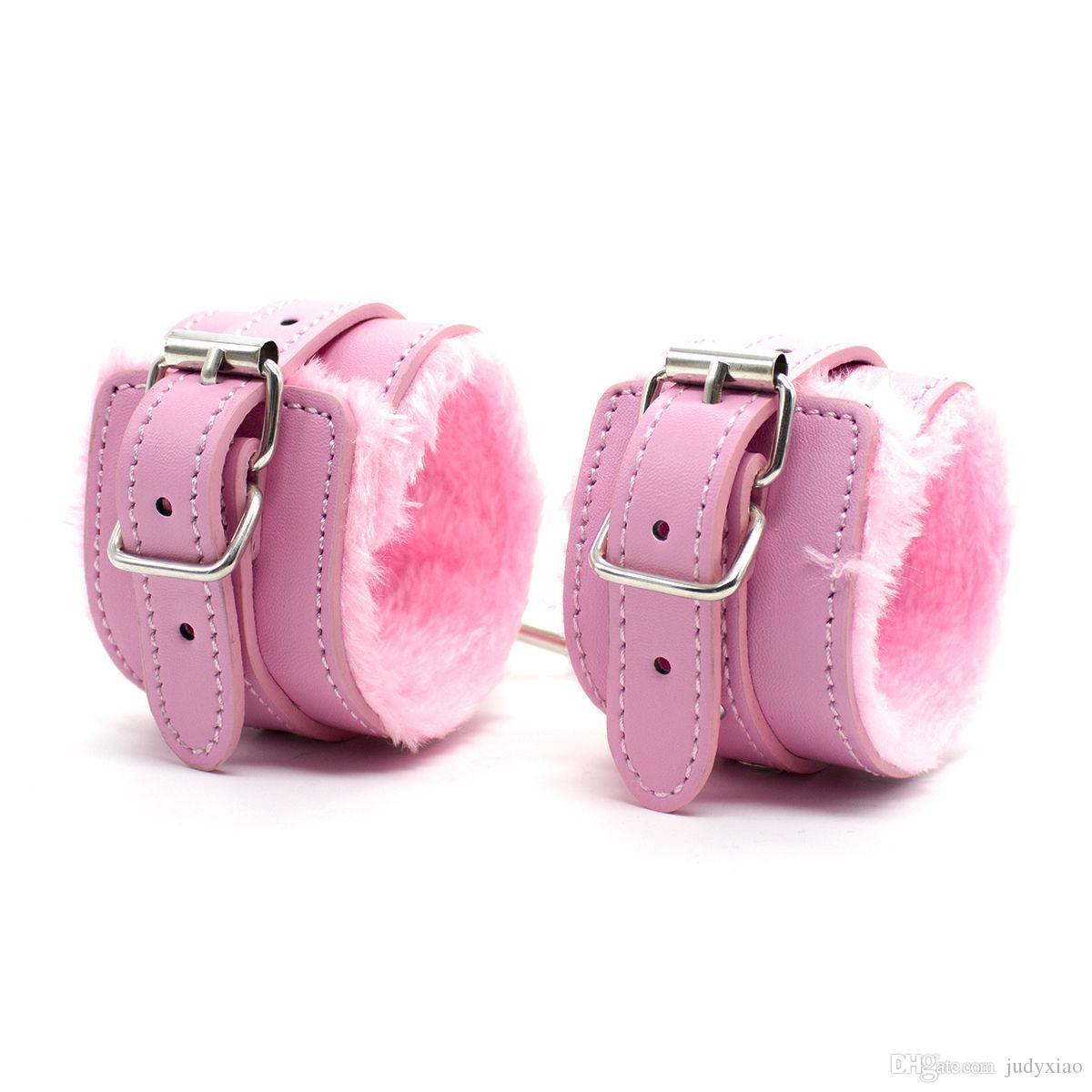 大人のゲームはセックス女性の手首の袖口の足のカフボンデージバインドの組み合わせ赤/ピンク