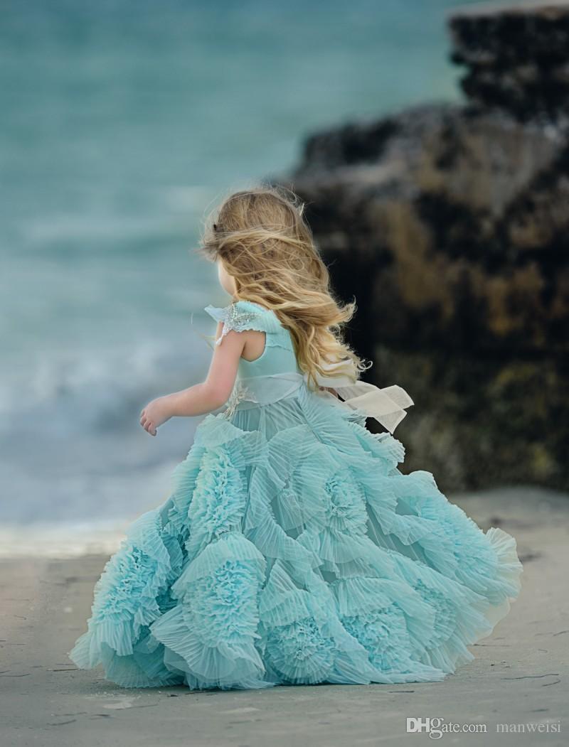 Abiti da bambina a fiori economici matrimoni Collana gioiello in cristallo bambini Abiti da cerimonia lunghezza del pavimento Abito da ragazza