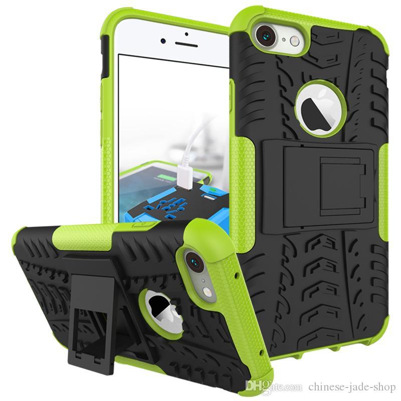 2 W 1 Hybrydowy Kickstand Wplatanie Wytrzymały Heavy Duty TPU + PC Shock Proof Case Pokrywa dla iPhone 13 Pro max 11 12 XS max 6 7 8 plus 50 sztuk / partia