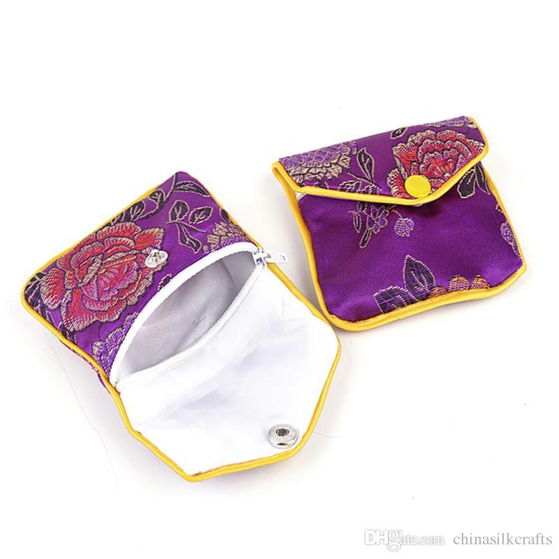Дешевые цветочные Zip Шелковый мешок сумки небольшой кошелек подарочная сумка сумки китайский парча ювелирные изделия мешок мини монета мешок Оптовая 6x8 см 8x10 см 12 шт. / Ло
