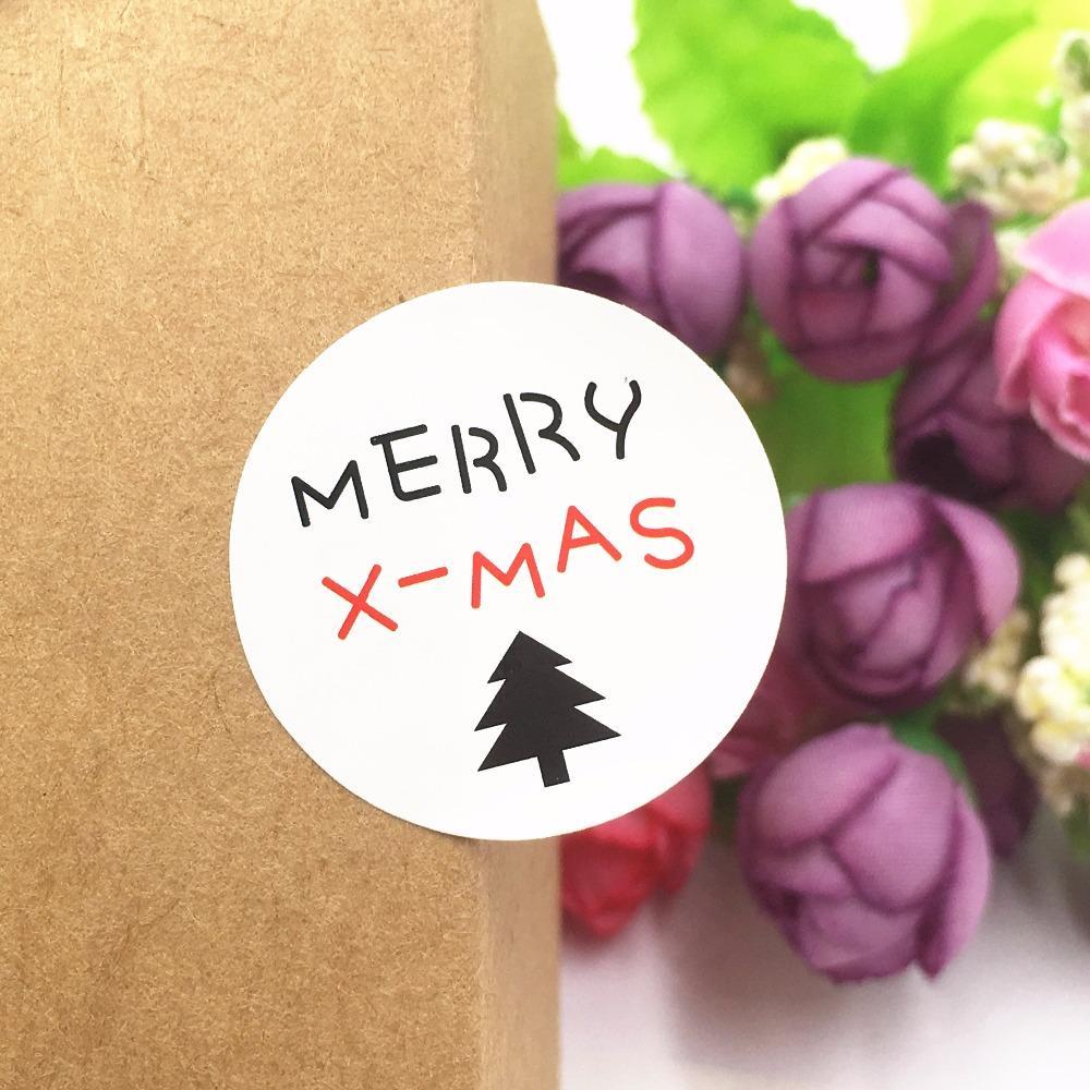 Frohe Weihnachten Etiketten.500 Teile Los Frohe Weihnachten Geschenk Verpackung Selbstklebende Etiketten 3 Cm Runde Papier Aufkleber Zum Verschließen Von Geschenkboxen