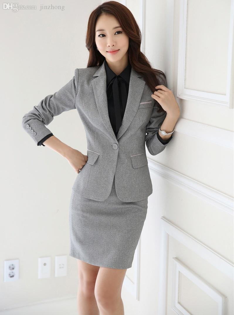 4ca3a0933 Wholesale-Plus Size 4XL Formal Uniform Styles Ladies Office Work Career  Suits With Jackets And Skirt 2016 Autumn Winter Blazers Set Grey