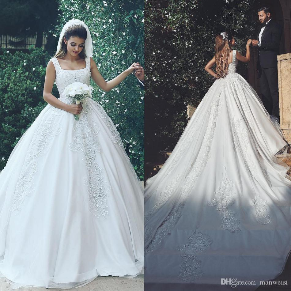 Luxury Ball Gown Wedding Dresses Square Neck Lace Applique Beads ...