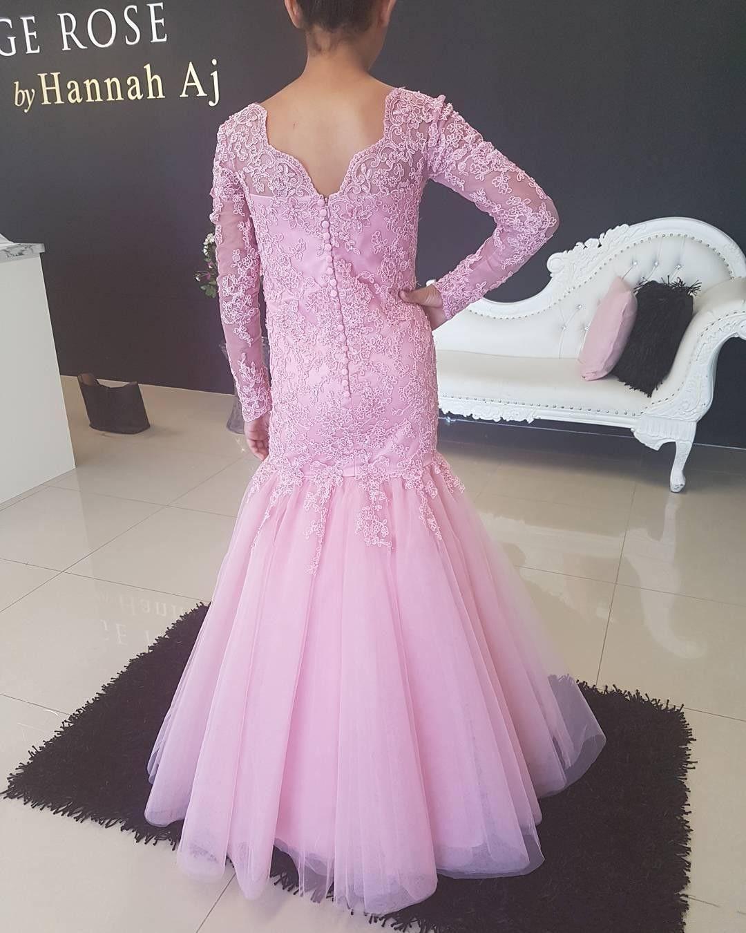 Pembe Mermaid Kızlar Pageant Elbise Uzun Kollu Dantel Düğün Çiçek Kız Elbise Bateau Boyun Kat Uzunluk Tül Çocuk Örgün Elbiseler Toddler törenlerinde