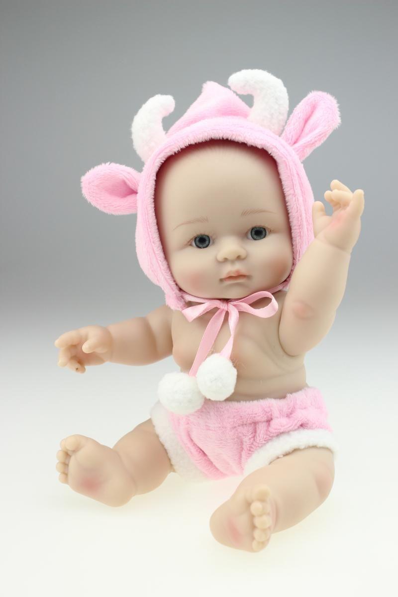 Lebendig schöne Mini Reborn Babypuppe mit rosa Schaf Kostüm Ganzkörper Silikon lebensechte realistische Babypuppe