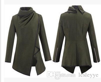 Abrigo de lana Moda de mujer Ropa de abrigo Abrigos de lana Abrigos Damas Personalidad Reglas asimétricas Abrigos de chaqueta corta