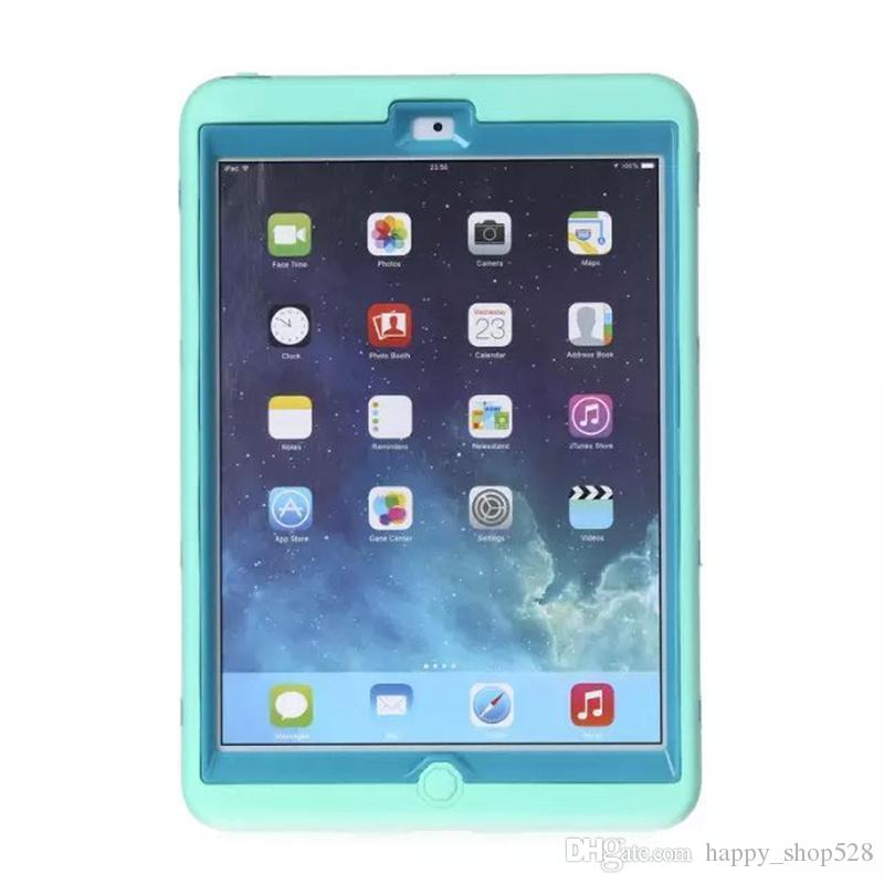 For ipad mini Hybrid 3 in 1 Robot Design Heavy duty kickstand Protection Hard PC + Silicone Dual Color Durable Rubber Skin Stand Cover Case