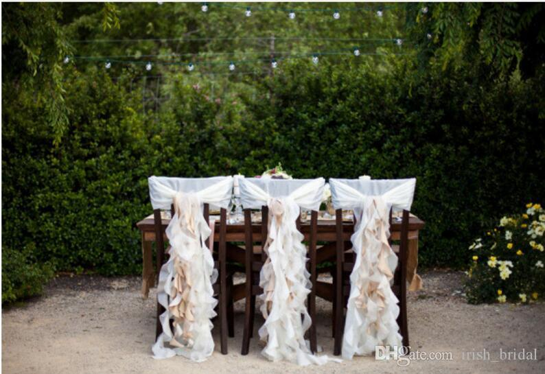 2016 Chiffon Ruffles Wedding Chair Sashes Vintage Romantic Chair Covers Floral Wedding Supplies Cheap Wedding Accessories
