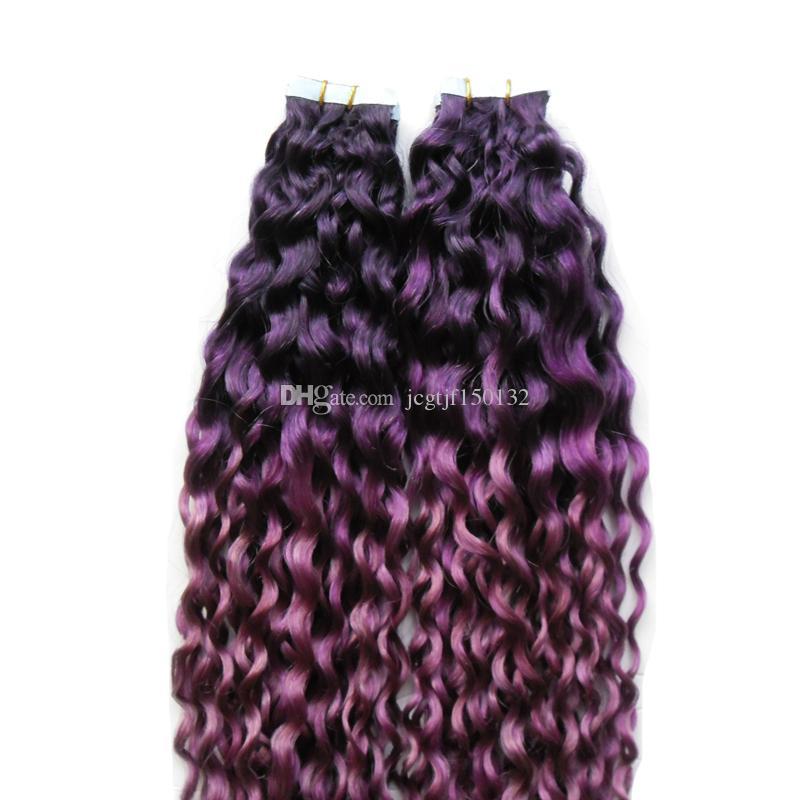 색상 보라색 / 핑크 ombre 브라질 머리 인간의 머리카락 연장에 변태 곱슬 머리 버진 헤어 피부 Weft 100g 테이프